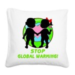 global warning kids redone Square Canvas Pillo
