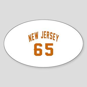 New Jersey 65 Birthday Designs Sticker (Oval)