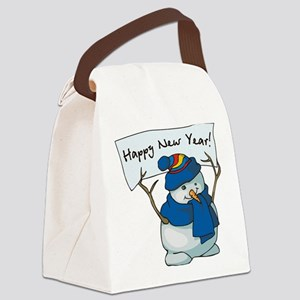 Happy New Years Snowman Canvas Lunch Bag