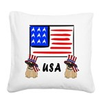 Patriotic USA Pug Dogs Square Canvas Pillow