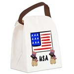 Patriotic USA Pug Dogs Canvas Lunch Bag