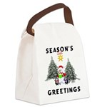 holiday snowman redone Canvas Lunch Bag