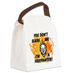 Firefighter Skull and Flames Canvas Lunch Bag