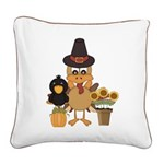 Thanksgiving Friends Square Canvas Pillow