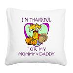 Thanksgiving Kids Square Canvas Pillow