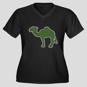 Cool Camel Women's Plus Size V-Neck Dark T-Shirt