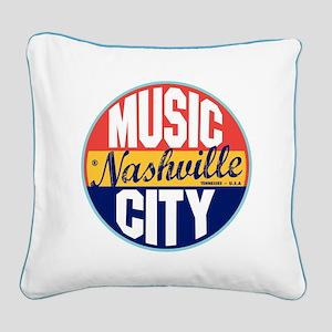 Nashville Vintage Label Square Canvas Pillow