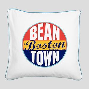 Boston Vintage Label Square Canvas Pillow