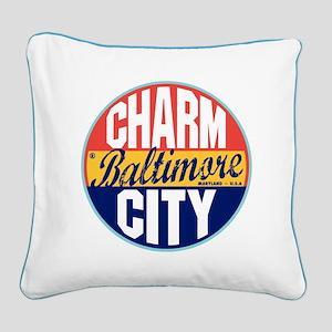 Baltimore Vintage Label Square Canvas Pillow