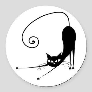 Black Cat Round Car Magnet