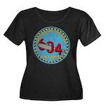 USS HADD Women's Plus Size Scoop Neck Dark T-Shirt