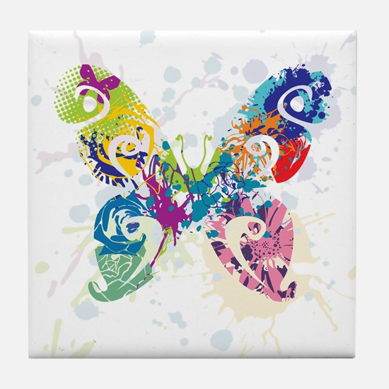Colorful Butterfly Tile Coaster