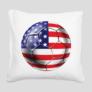USA Soccer Ball Square Canvas Pillow