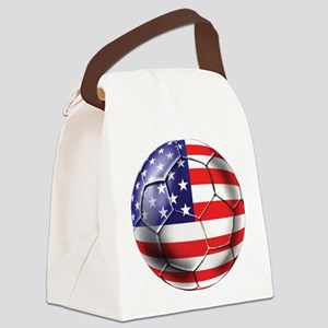 USA Soccer Ball Canvas Lunch Bag