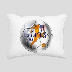 USA Girls Soccer Rectangular Canvas Pillow