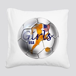 USA Girls Soccer Square Canvas Pillow