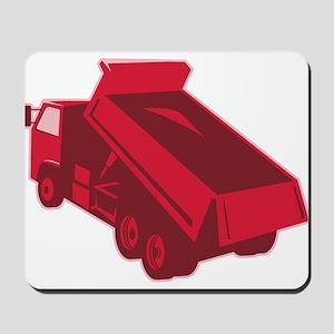 dump dumper truck dumping load rear Mousepad