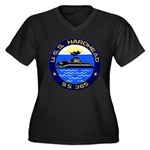 USS HARDHEAD Women's Plus Size V-Neck Dark T-Shirt