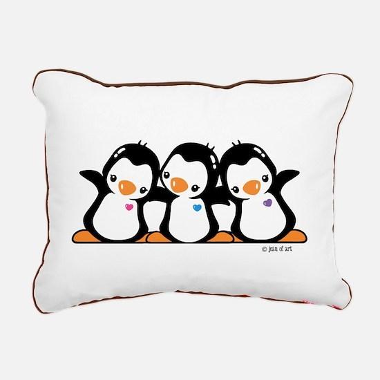 Penguins (together) Rectangular Canvas Pillow