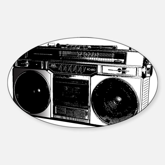 boombox5.png Sticker (Oval)