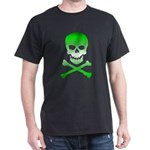 gradient green nuclear skull black tee