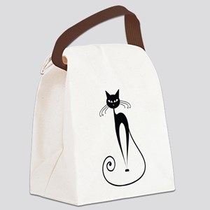Black Cat Canvas Lunch Bag