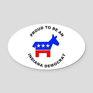 Indiana Democrat Pride Oval Car Magnet