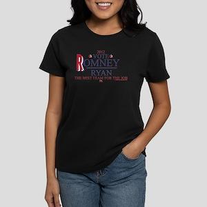 Romney Ryan Best Team For Job Women's Dark T-Shirt