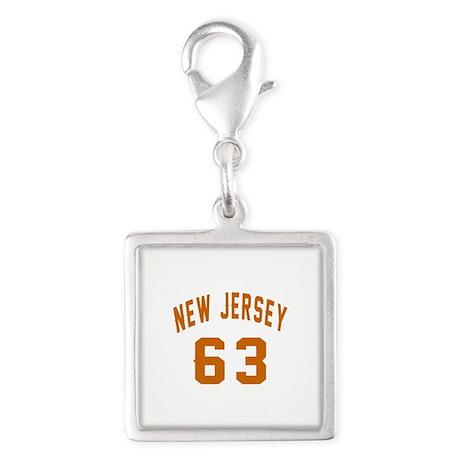 New Jersey 63 Birthday Design Silver Square Charm