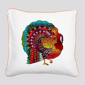 Thanksgiving Jeweled Turkey Square Canvas Pillow