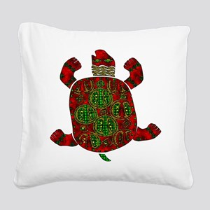Red African-Style Turtle Square Canvas Pillow