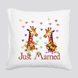 just_married01 Square Canvas Pillow