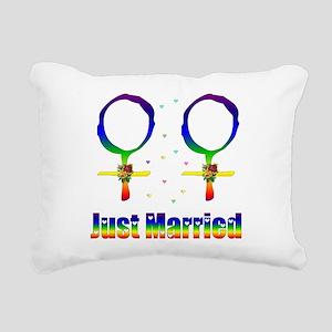 Just Married Lesbians Rectangular Canvas Pillow