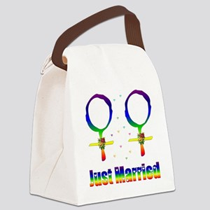 Just Married Lesbians Canvas Lunch Bag