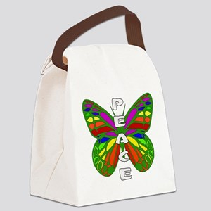 Peace Butterfly Canvas Lunch Bag