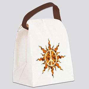 Flaming Peace Sun Canvas Lunch Bag