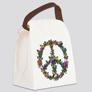Butterflies Peace Sign Canvas Lunch Bag