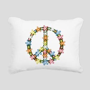 Peace Flowers Rectangular Canvas Pillow