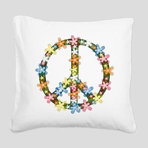 Peace Flowers Square Canvas Pillow