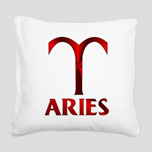 Red Aries Horoscope Symbol Square Canvas Pillow