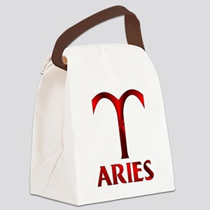 Red Aries Symbol Canvas Lunch Bag