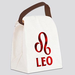 Red Leo Astrological Symbol Canvas Lunch Bag