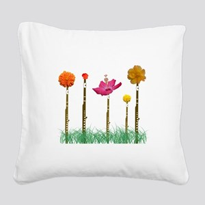 Flute Flowers Square Canvas Pillow