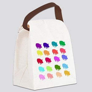 pigs_rainbow01 Canvas Lunch Bag