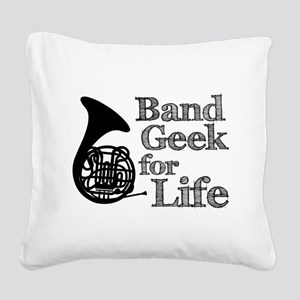 French Horn Band Geek Square Canvas Pillow