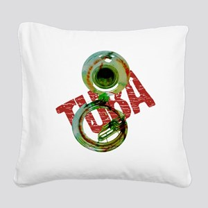 Grunge Sousaphone Square Canvas Pillow