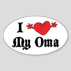 I Love My Oma Oval Sticker