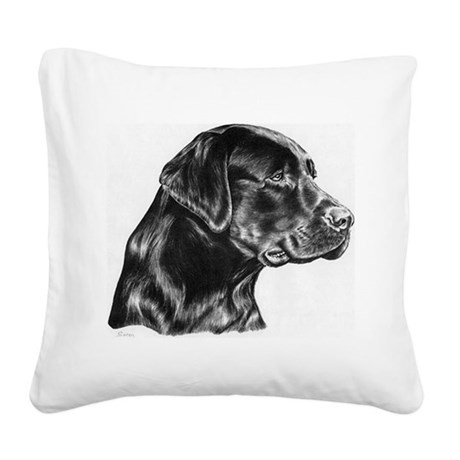 Black Lab drawing Square Canvas Pillow
