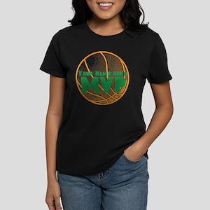 Personalized Basketball MVP. Women's Dark T-Shirt