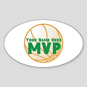 Personalized Basketball MVP. Sticker (Oval)